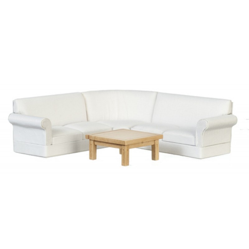 Dolls House White Corner Sofa & Light Oak Table Modern Living Room Furniture Set