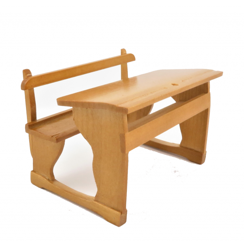 Dolls House Twin Double School Desk & Bench Old Fashioned Pine 1:12 Furniture