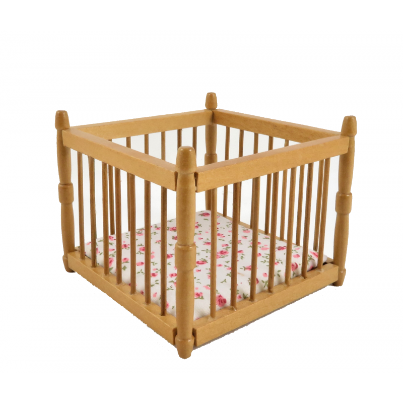 Dolls House Baby's Pine Playpen Miniature Nursery Furniture Play Pen