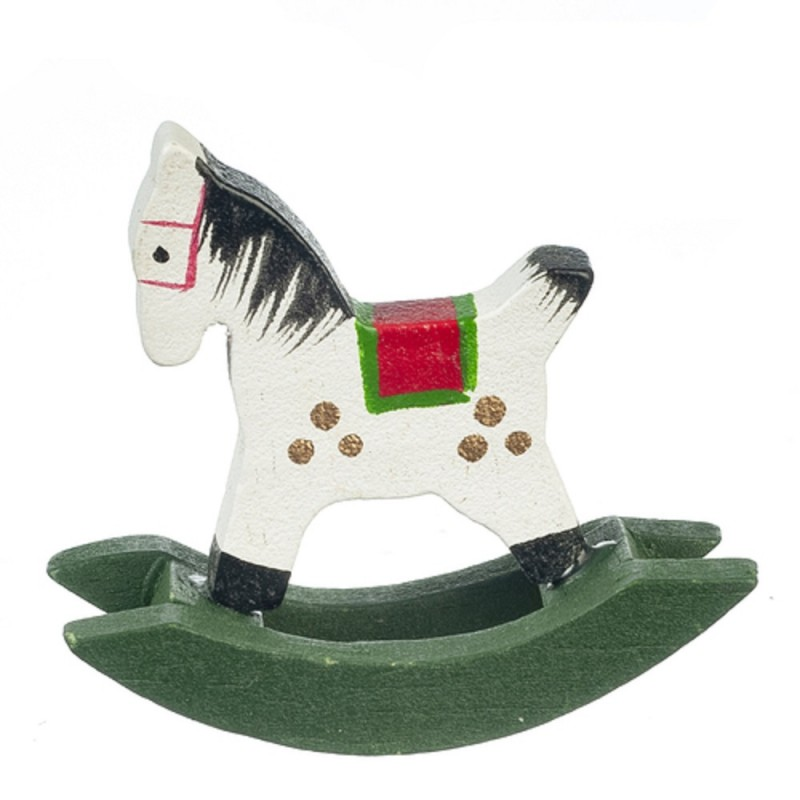 Dolls House Small Wooden Rocking Horse Christmas Toy Shop Store Accessory