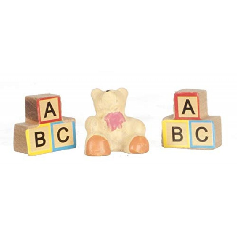 Dolls House ABC Blocks & Teddy Bear Ornaments Miniature Toy Nursery Accessory