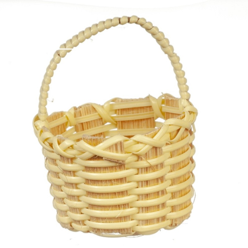 Dolls House Round Wicker Woven Basket with Handle 1:12 Shop Garden Accessory