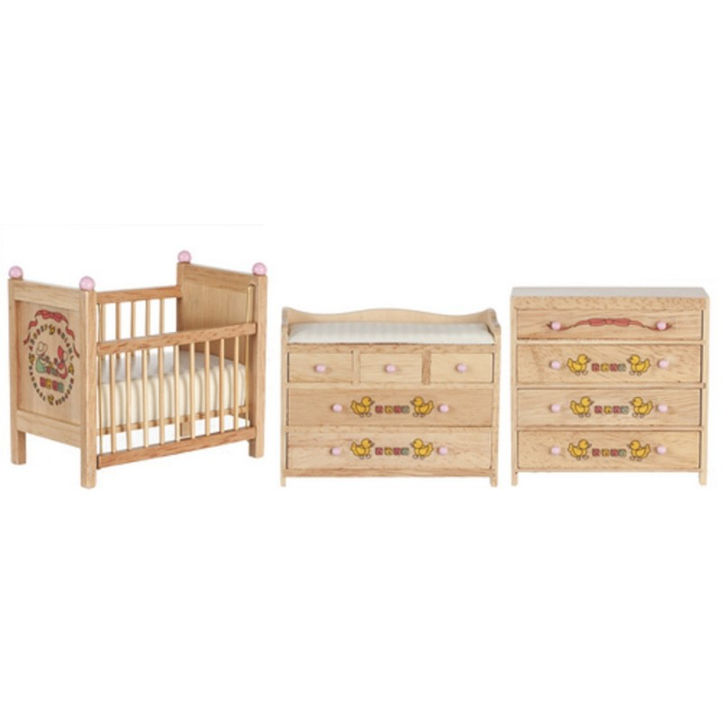 Dolls House Light Oak ABC Ribbons Baby's Room Nursery Furniture Set