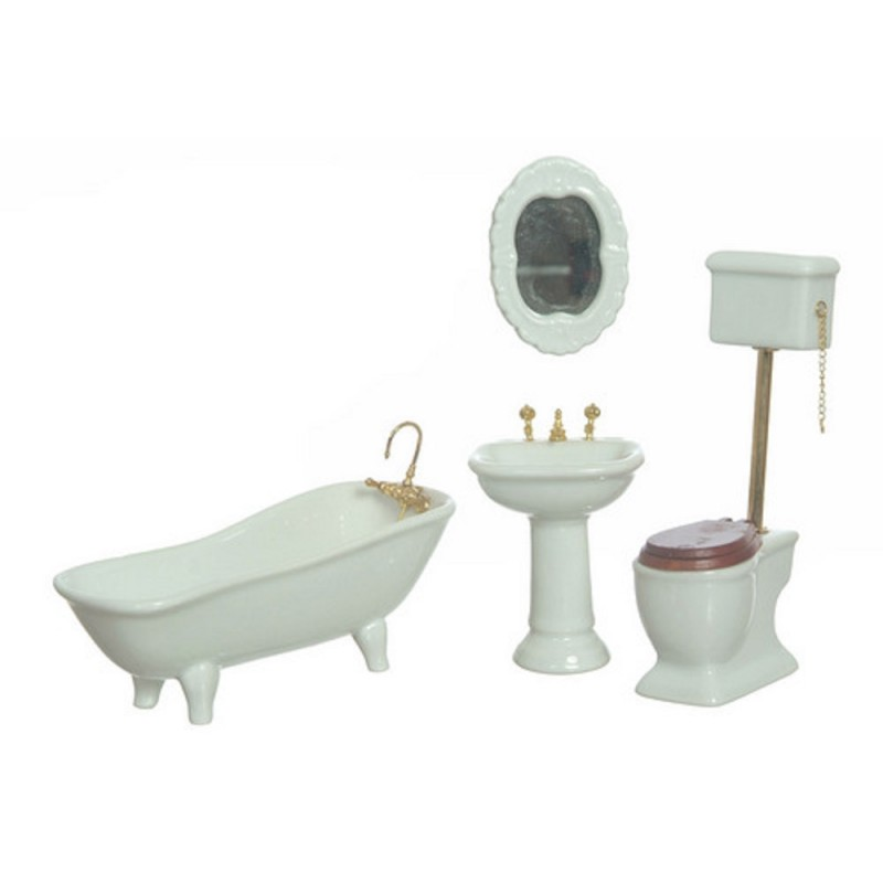 Dolls House Plain White Porcelain Bathroom Furniture Set with High Level Toilet