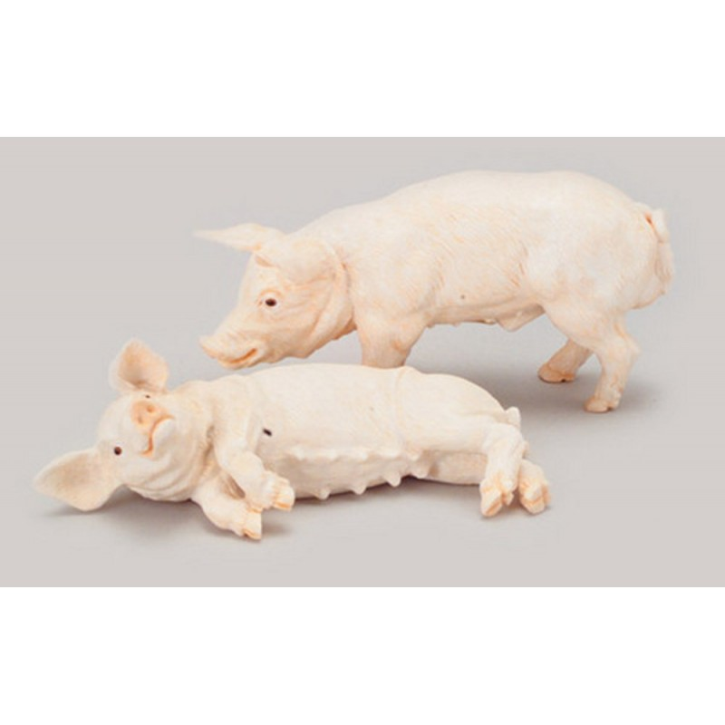 Dolls House 2 Pigs Standing & Lying Down Falcon Miniature Farm Yard Animals