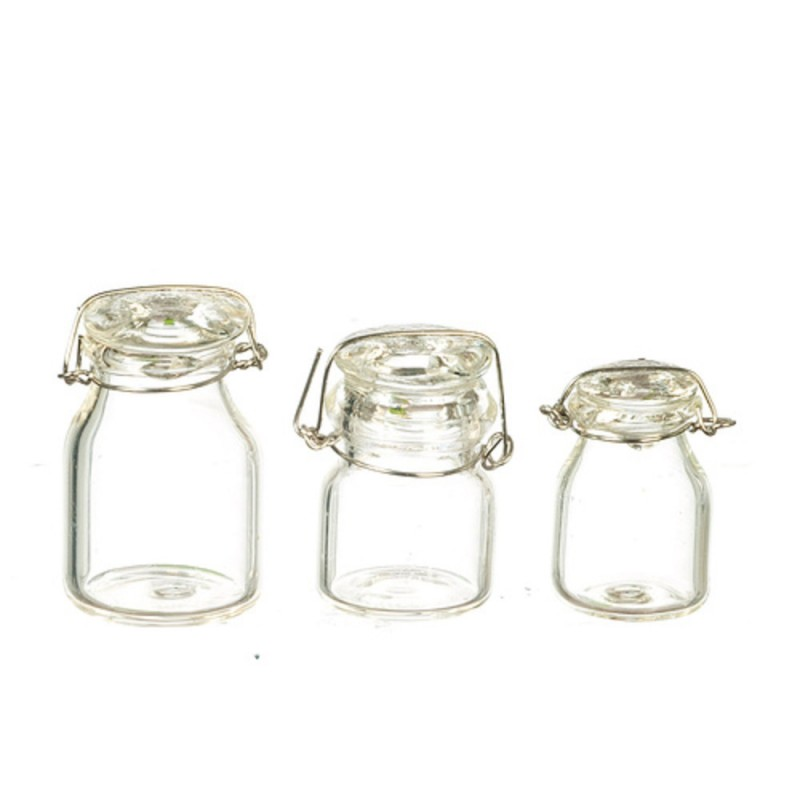 Dolls House Clip Top Glass Canister Set Storage Jars Shop Cafe Kitchen Accessory