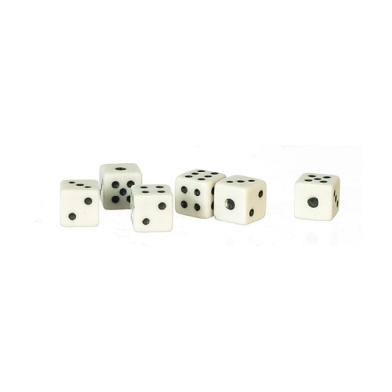 Dolls House Set of 6 White 5mm Dice Miniature Bar Games Room Pub Accessory