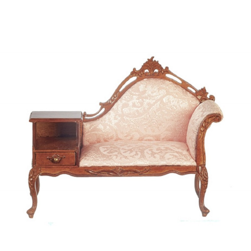 Dolls House Walnut & Apricot Telephone Sofa JBM Miniature Hall Furniture