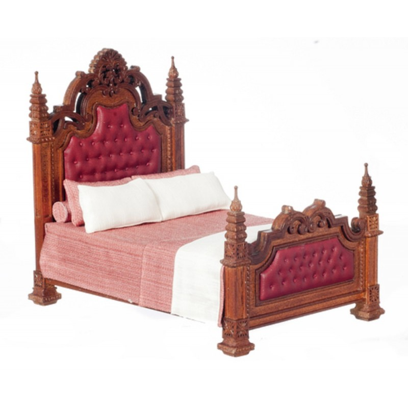Dolls House Walnut Gothic Panel Bed Studded Headboard JBM Bedroom Furniture