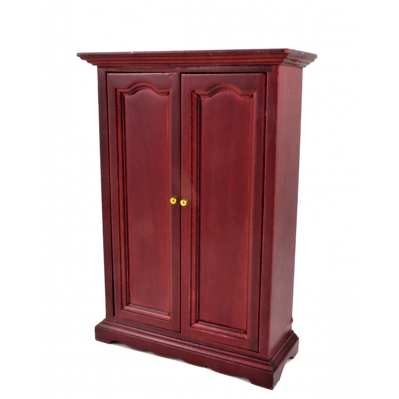 Dolls House Mahogany Double Door Wardrobe Miniature 1:12 Bedroom Furniture