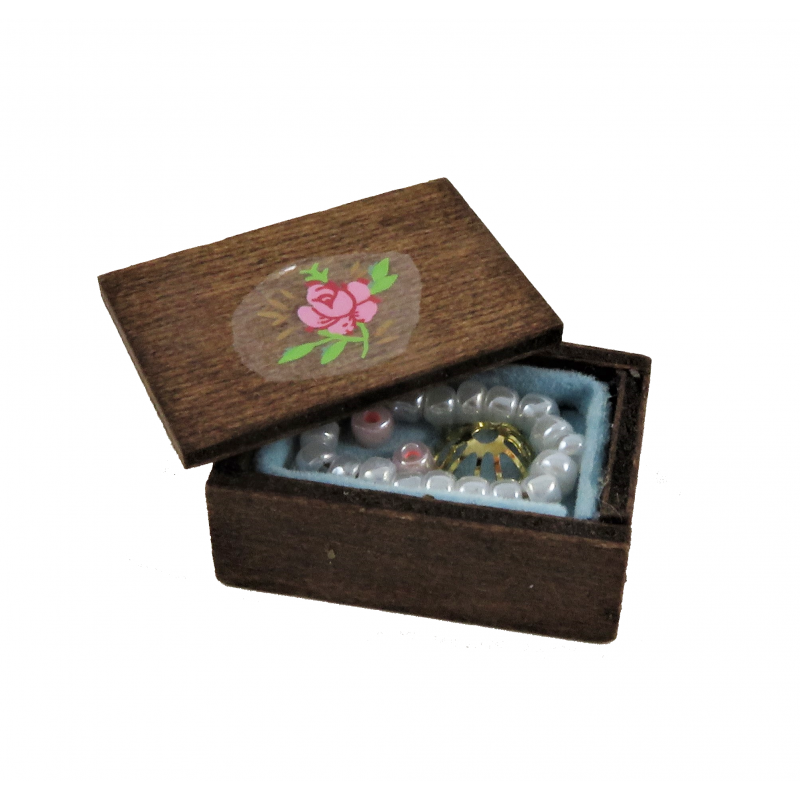 Dolls House Full Wooden Jewellery Box 1:12 Bedroom Dressing Table Accessory