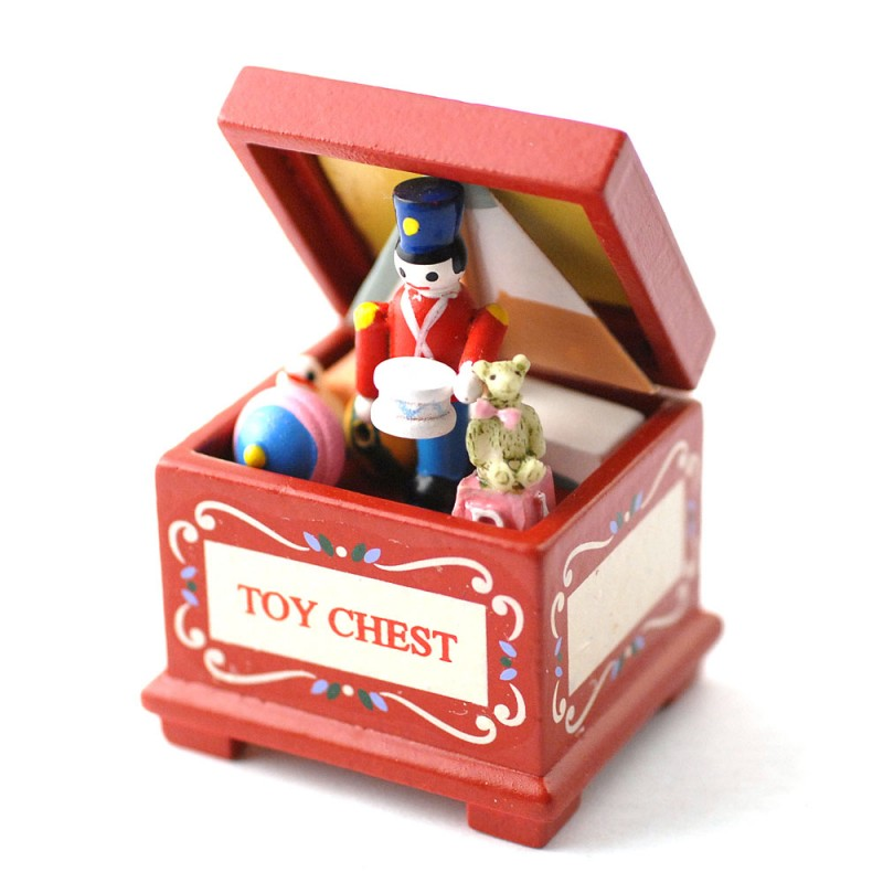 Dolls House Red Toy Chest Full of Toys Miniature Old Fashioned Nursery Accessory