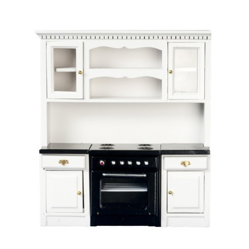 Dolls House Miniature Fitted Kitchen Furniture Black and White Oven Unit Cupboards