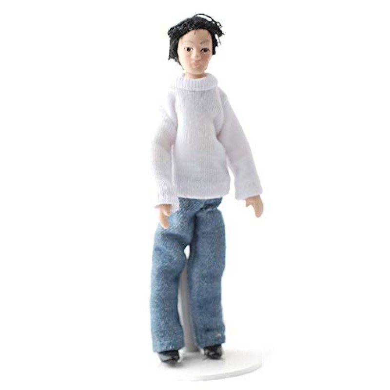 Dolls House Modern Man Black Hair Miniature 1:12 Scale Figure Porcelain People