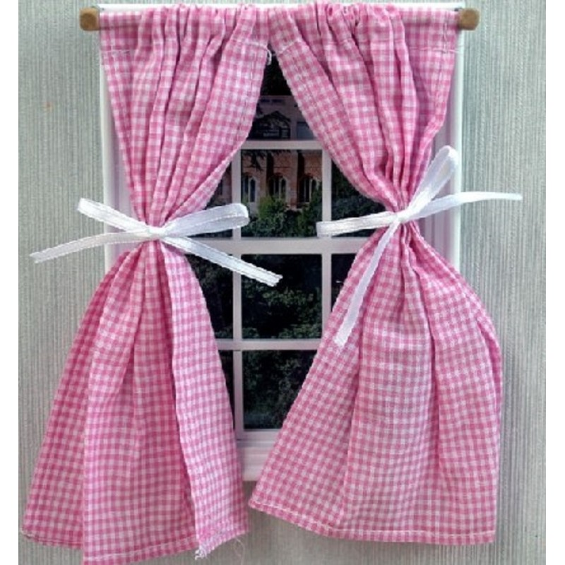 Dolls House Pink Gingham Curtains on Rail Tied Back Miniature 1:12 Accessory