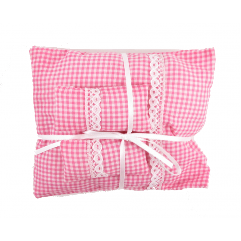 Dolls House Pink Gingham Double Bedding Set 1:12 Bedroom Accessory