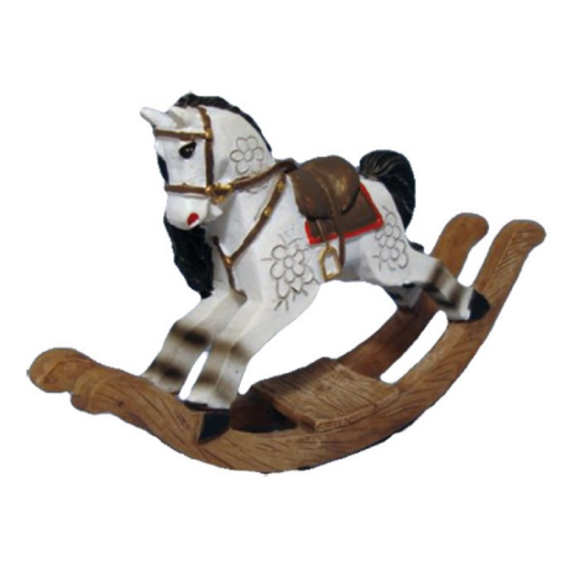 Dolls House White Rocking Horse Old Fashioned Nursery Toy Shop Accessory
