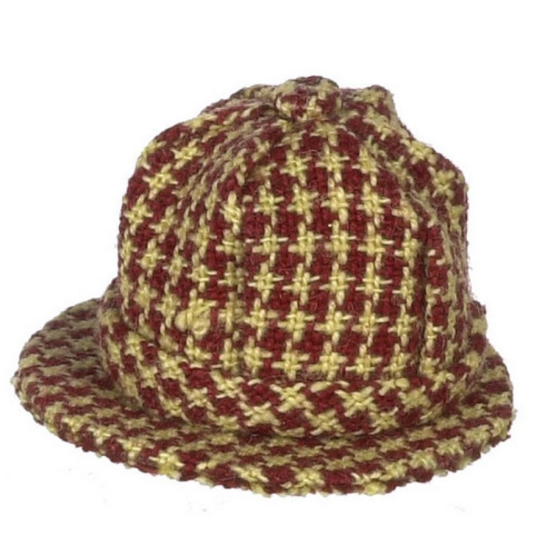 Dolls House Red Checkered Plaid Mans Hat Falcon Miniature Accessory