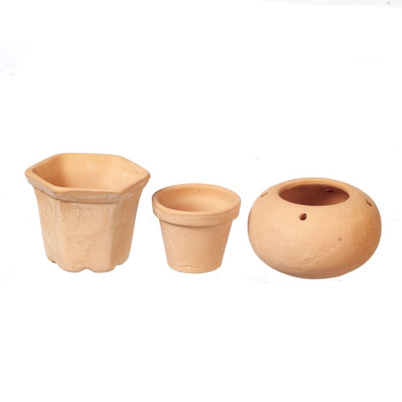 Dolls House Set of 3 Clay Terracotta Plant Pots Miniature Garden Accessory