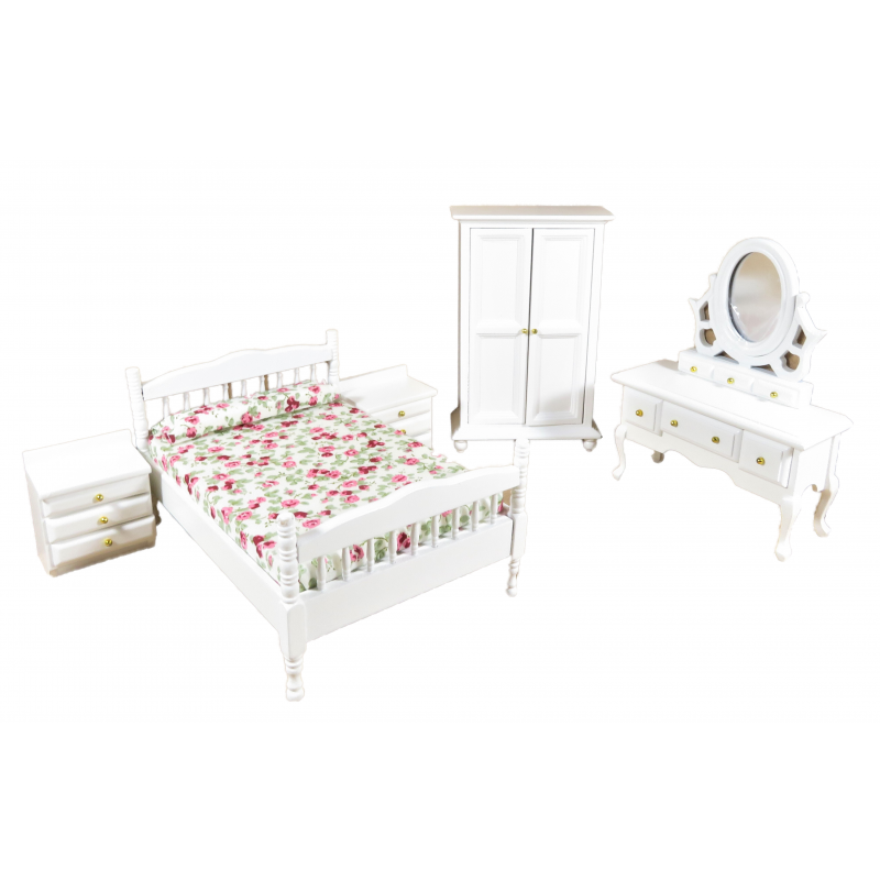 Dolls House White Double Bedroom Furniture Set with Spindle Frame 1:12 Scale
