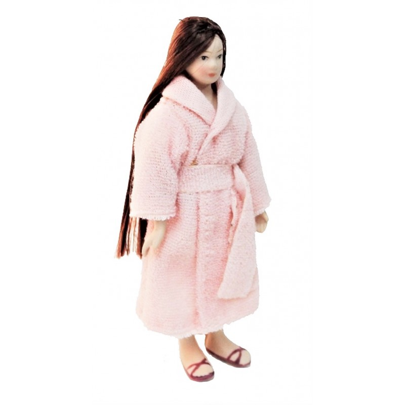 Dolls House Woman in Bath Robe Dressing Gown Porcelain 1:12 People