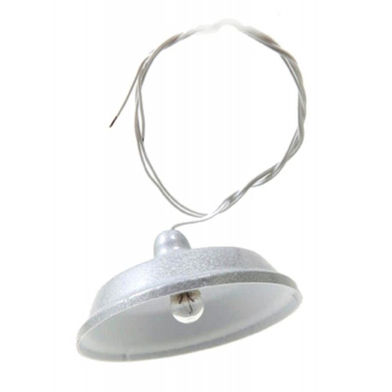 Dolls House Utility Light with Silver Shade 12V Electric Ceiling Lighting