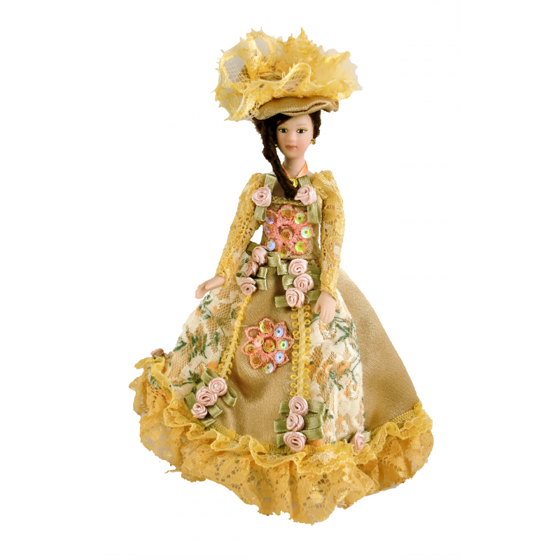 Dolls House Victorian Lady In Gold Gown Miniature 1:12 Scale People Porcelain