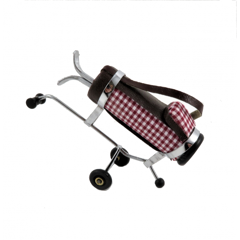 Dolls House Burgundy Golf Bag & Clubs on Wheels Miniature Outdoor Accessory