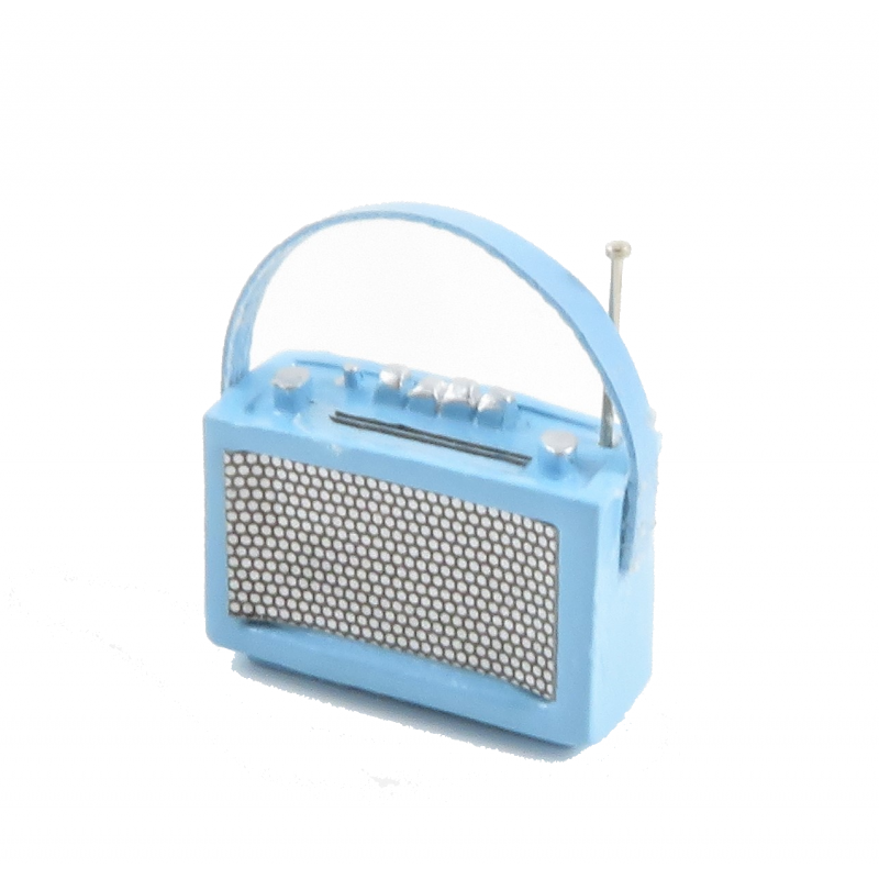 Dolls House 1960's Baby Blue Transistor Radio Miniature 1:12 Scale Accessory