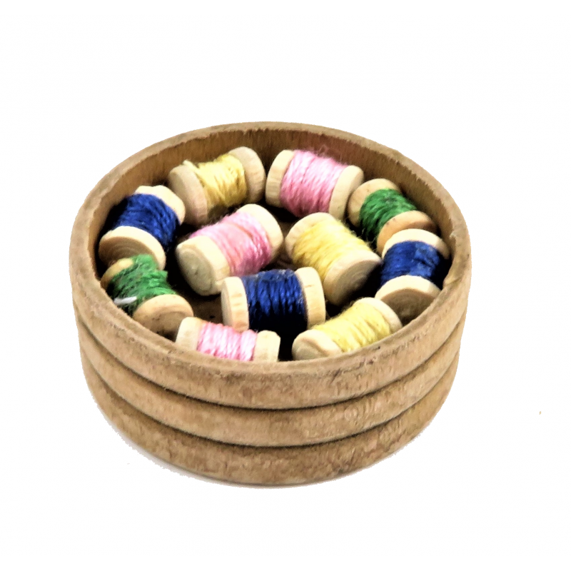 Dolls House Wooden Bowl of Cotton Reels Haberdashery Sewing Shop Accessory