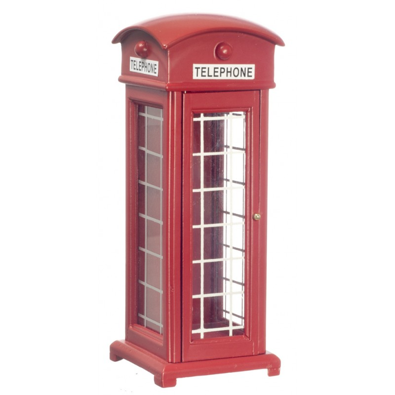 Dolls House Miniature 1:12 Scale British Street Red Telephone Box Kiosk Booth