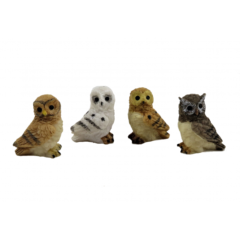 Dolls House Set of 4 Owls Miniature Birds Garden Accessory