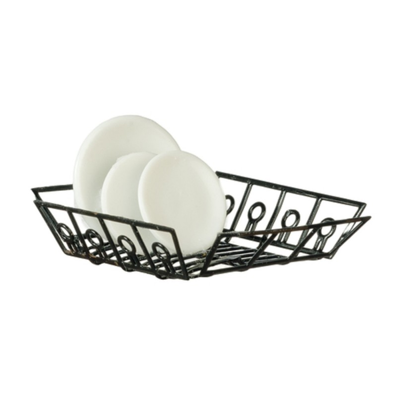 Dolls House Dish Drainer & Plates 1:12 Washing Up Kitchen Accessory