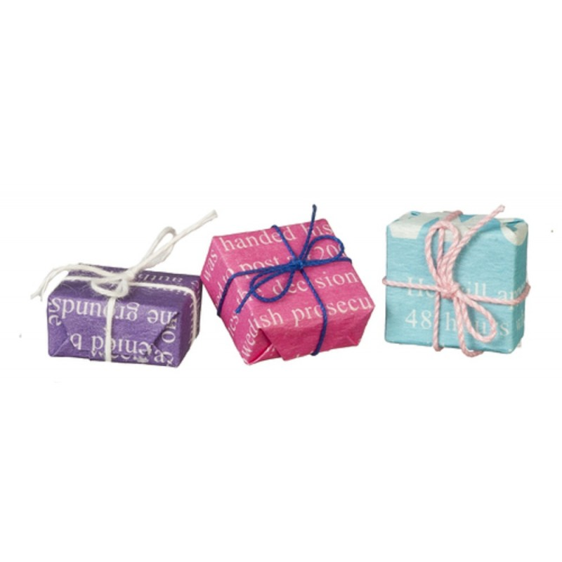 Dolls House Wrapped Gifts Christmas Birthday Present Boxes 1:12 Shop Accessory