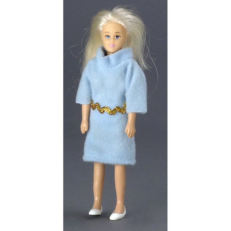 Dolls House Blonde Lady Mother Mum Shopkeeper Miniature 1:12 Scale People