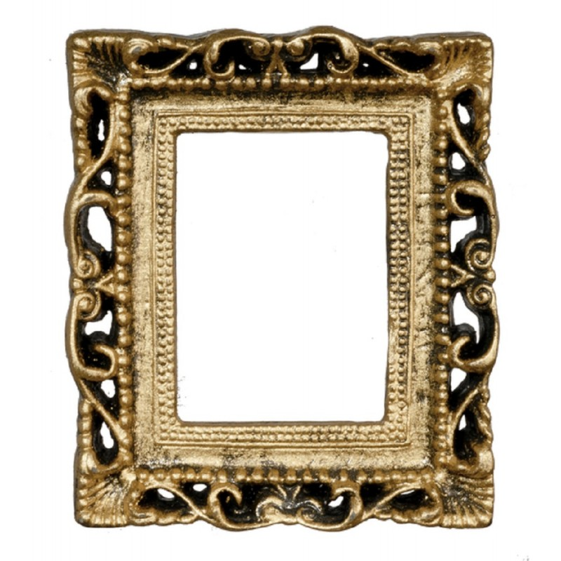 Dolls House Empty Ornate Antique Gold Picture Frame Medium Miniature Accessory