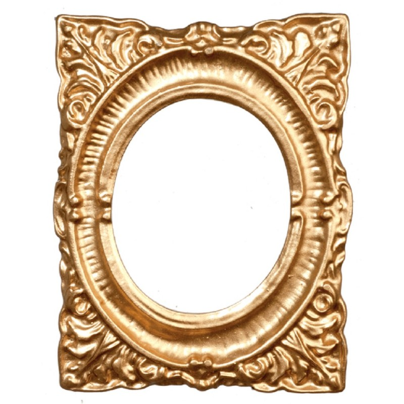 Dolls House Empty Ornate Inner Oval Gold Picture Frame Medium 1:12 Accessory