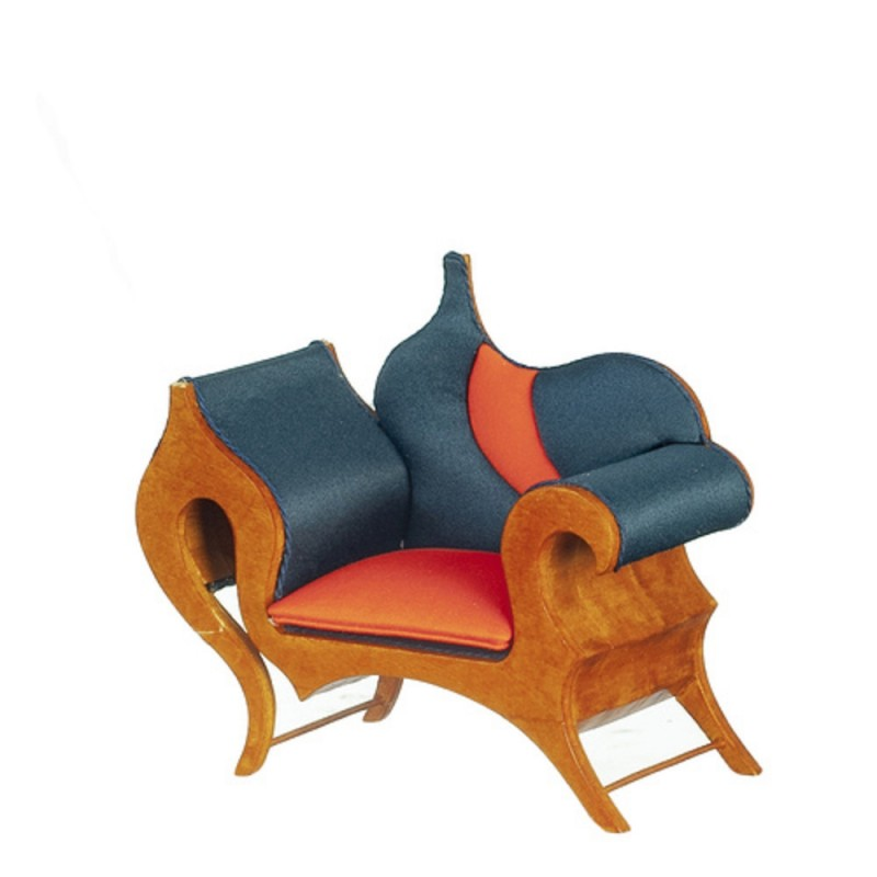 Dolls House Show Timber Armchair JBM Miniature Walnut Living Room Furniture
