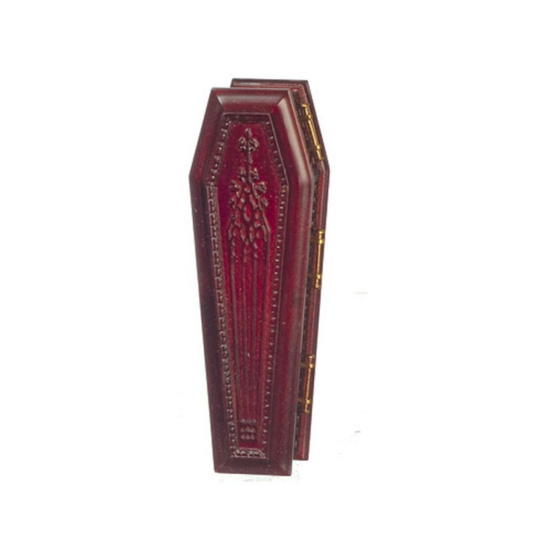 Dolls House Mahogany Coffin JBM Miniature Church Funeral Halloween Accessory