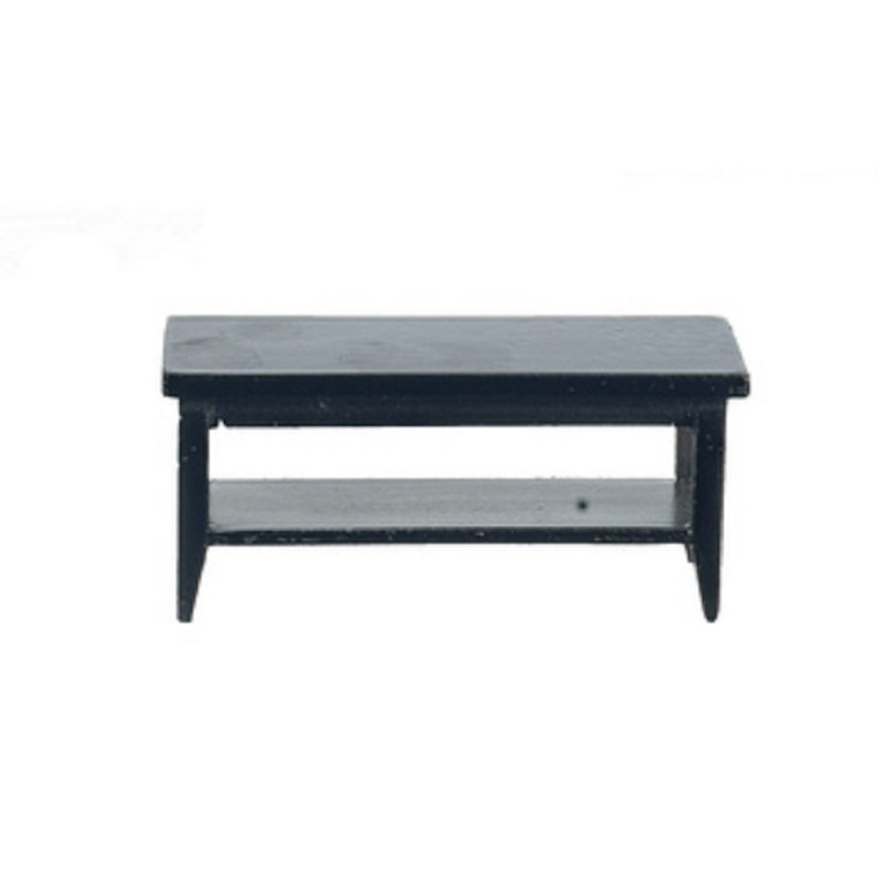 Dolls House Black Retro Coffee Table with Shelf Modern Living Room Furniture