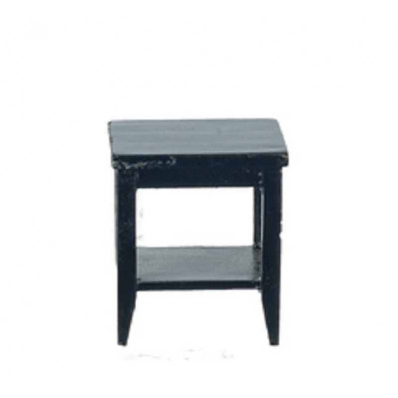 Dolls House Black Retro Side Table with Shelf Modern Living Room Furniture