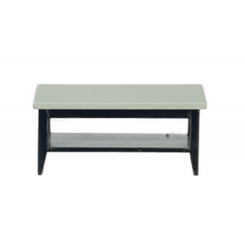 Dolls House Grey & Black Retro Coffee Table with Shelf Living Room Furniture