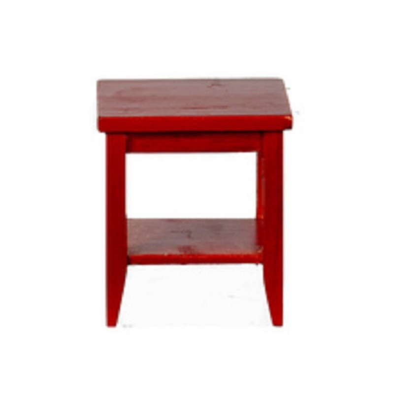 Dolls House Mahogany Retro Side Table with Shelf Modern Living Room Furniture
