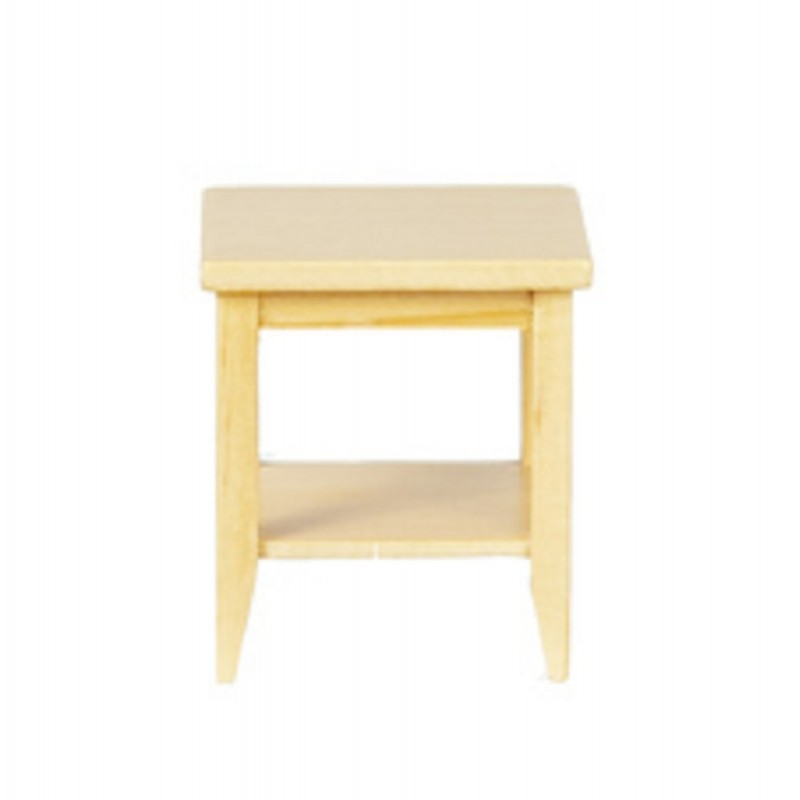 Dolls House Light Oak Retro Side Table with Shelf Modern Living Room Furniture