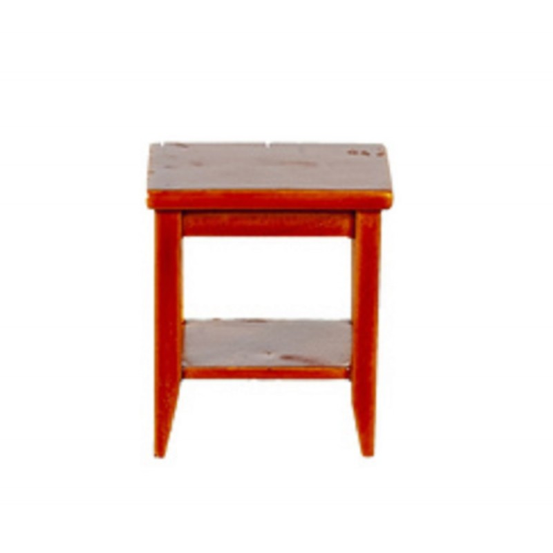 Dolls House Walnut Retro Side Table with Shelf Modern Living Room Furniture