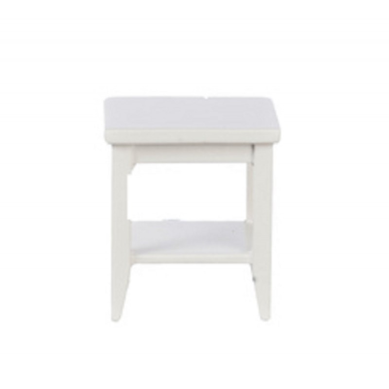 Dolls House White Retro Side Table with Shelf Modern Living Room Furniture