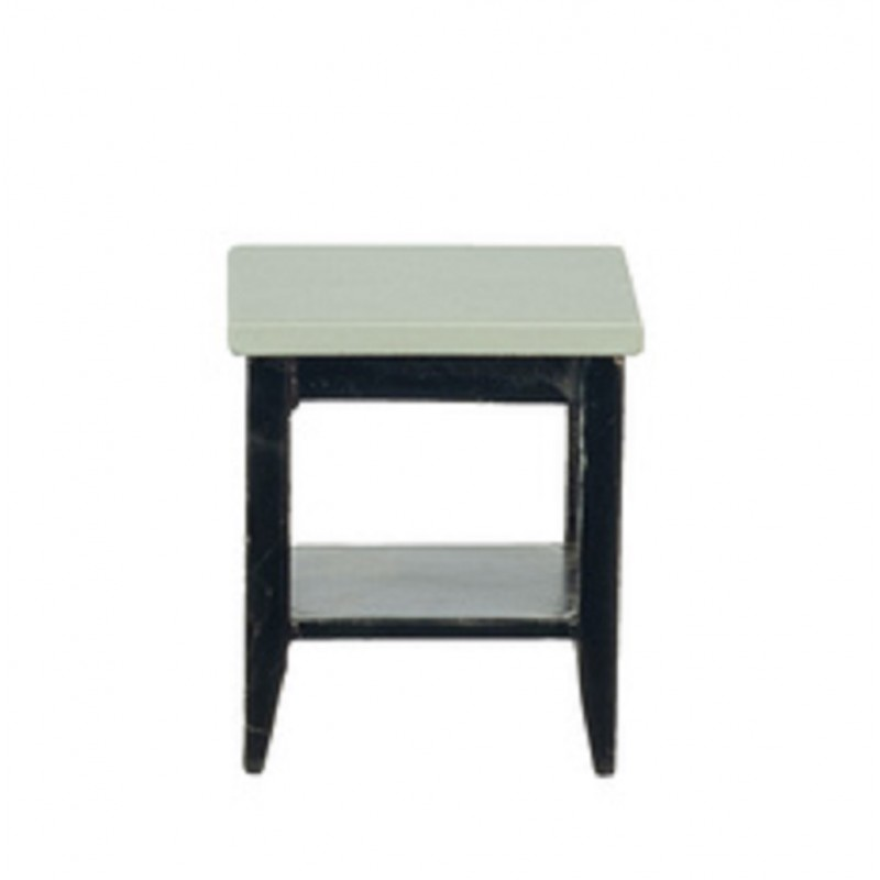 Dolls House Grey & Black Retro Side Table with Shelf 1:12 Living Room Furniture