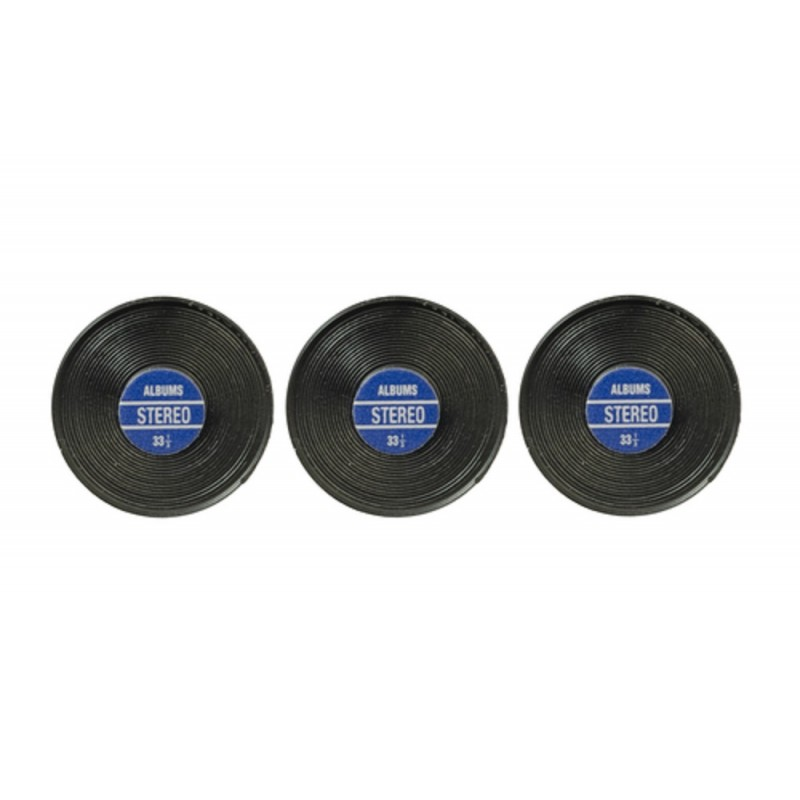 Dolls House 3 Records with Blue Label Miniature Music Room 1:12 Scale Accessory