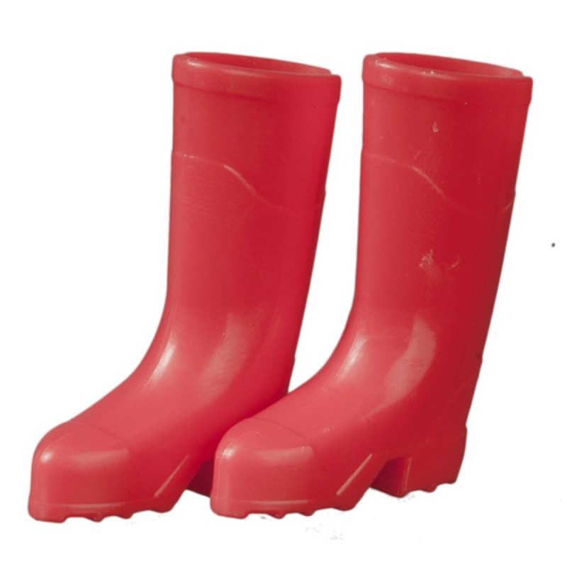 Dolls House Light Red Wellington Boots Wellies 1:12 Garden Accessory