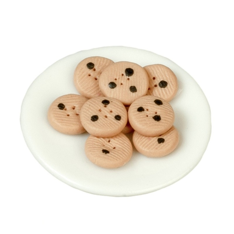 Dolls House Chocolate Chip Cookies on a Plate Christmas Dining Room Accessory